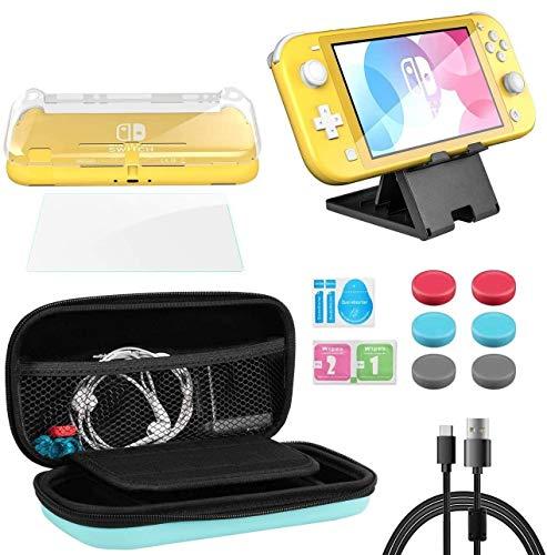 Funda para Nintendo Switch Lite, Whasoo 8 en 1 funda de transporte incluye cable tipo C, protector de pantalla, fundas Joy Con, soporte de ranura para tarjeta de juego
