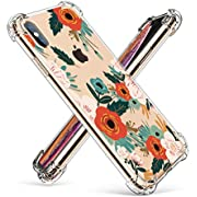GVIEWIN Compatible for iPhone Xs/X Case,Clear Flower Pattern Design Soft & Flexible TPU Ultra-Thin Shockproof Transparent Girls Women Floral Cover,Cases iPhone X/iPhone 10