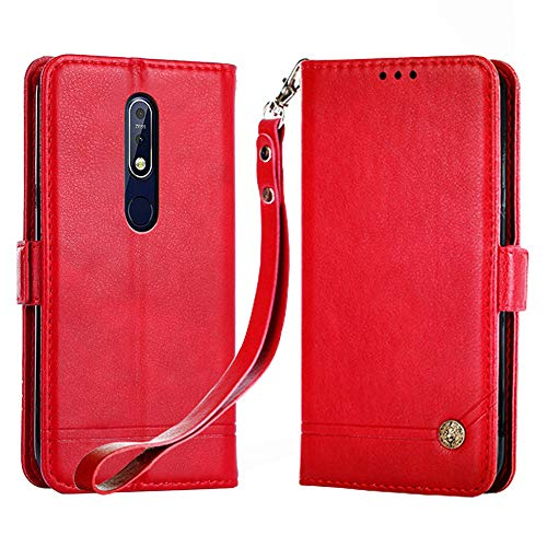 Nokia 7 2018 Lederhülle, Nokia 7.1 Brieftaschen-Hülle, Magnetverschluss, Klappschutzhülle mit Kartenfächern & Ständer für Nokia 7.1/Nokia 7 2018 – Rot