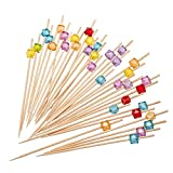 "PuTwo Cocktail Picks 4.7"" Handmade Multicolor Appetizer Bamboo Toothpicks 100ct Multicolor"