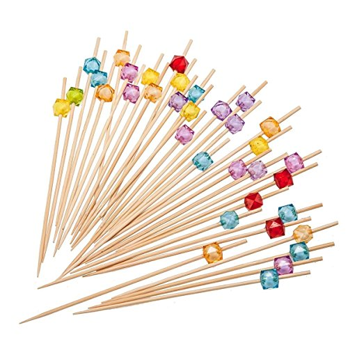 PuTwo Cocktail Picks 4.7' Handmade Multicolor Appetizer Bamboo Toothpicks 100ct Multicolor