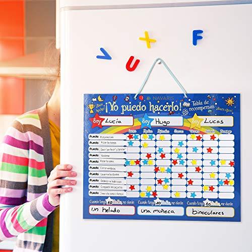 Navaris Pizarra de recompensa para niños - Tabla magnética para Dar premios por Buen Comportamiento - Calendario con rotulador 250 imanes - Español