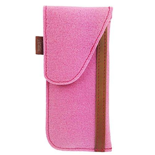 Venetto Venetto Brillenetui Hülle für Brille Brillentasche Einstecketui Tasche Etui zum einstecken aus Filz (Modell 02 Pink)