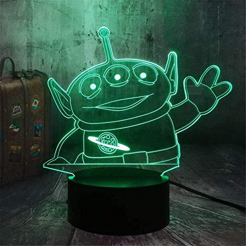 Green Alien Toy 3D Luz de noche para niños, lámpara de ilusión 3D Lámpara de cabecera de 16 colores de cambio de lámpara de decoración de Navidad y regalos de cumpleaños para niños y niños