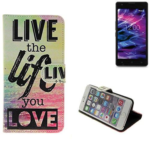 K-S-Trade® Schutzhülle Für Medion Life E5020 Schutz Hülle 360° Wallet Case ''live Life Love'' Schutzhülle Handy Tasche Handyhülle Etui Smartphone Flip Cover Standfunktion (1x)