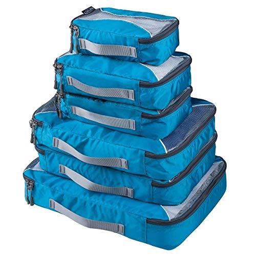 G4Free 3pcs / 6pcs / 7pcs Packing Cubes de Embalaje Organizador de Maletas Organizador de Embalaje de Equipaje Valor Establecido para Viajes (Azul, (1S+2M+2L+1XL)-6PC)