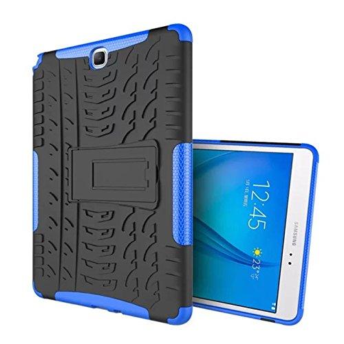 XITODA Custodia per Galaxy Tab A 9.7 Hybrid TPU Silicone & Duro PC con Kickstand Cover per Samsung Galaxy Tab A 9.7 Pollici SM-T550 T551 T555 Protezione - Blu Scuro