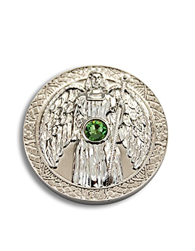 Engeltaler Raphael Schutzengel Talisman der Gesundheit versilbert mit Kristall, Ø 27mm, Glücksbringer Glücksmünze Engel