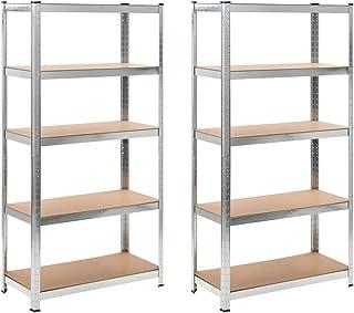 Tidyard- MDF planchas de Acero galvanizado Dos dormitorios,estanterías 90x40x180 cm