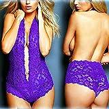 Gdofkh Lencería Sexy Encaje Europeo y Americano Transparente de una Pieza Sexy Archivo Abierto Pecho Expuesto lencería Sexy en Forma de V