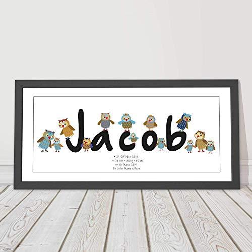 Kinderzimmerbild personalisiert, Taufgeschenk Junge, Mädchen, Patengeschenk,1. Geburtstag, Namensbild, Eulen