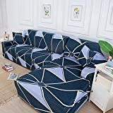 MKQB Funda de sofá elástica geométrica para Sala de Estar, Funda de sofá de Esquina combinada en Forma de L, Funda de sofá Todo Incluido Antideslizante NO.15 1seat-S- (90-140cm