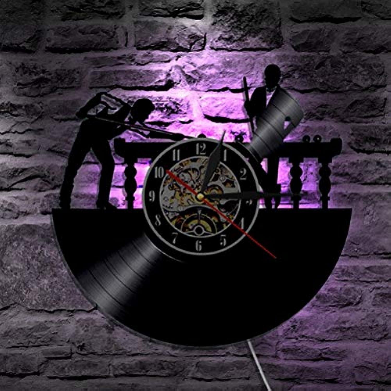 PQPQPQ Billard LED-Wanduhr Modern Design Klassik CD-Uhren 7 Schallplatte an der Wand eine Uhr mit Hintergrundbeleuchtung Home Decor