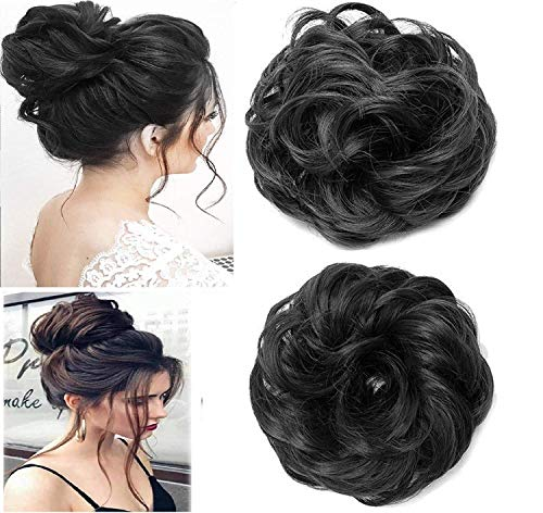 QKYPZO Set Of 2pcs Messy Hair Bun Synthetic Hair Bun Extension And Wigs Artificial Juda For Women And Girls, 35 Gram, Natural Black