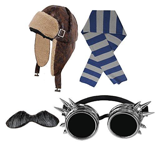 I LOVE FANCY DRESS LTD FLIEGERMÜTZE/RUSSENMÜTZE=Retro Stil Variation= Fasching Karneval VERKLEIDUNG KOSTÜM = MÜTZE +Grauer SCHNAUTZ BART + Silber FARBENDE Goggles+BLAU/GRAU SCHAL