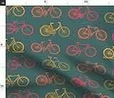 Fahrrad, Retro, Altmodisch, Muster, Farbe, Grün Stoffe -