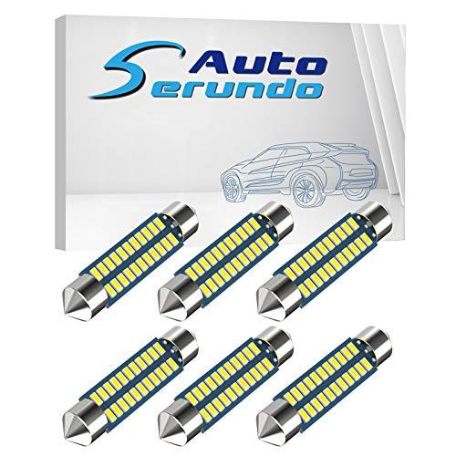 Serundo Auto 578 Led Car Bulb 211-2 Led Car Bulb 41mm 42mm 1.65in 212-2 Led Car Bulb for Car Map Light Dome Light, 22SMD 3014 Chips 6000k White Super Bright Interior Led Car Bulb,Pack of 6pcs