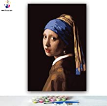 Paint by Number Kits 12 x 18 inch Canvas DIY Oil Painting for Kids, Students, Adults Beginner with Brushes and Acrylic Pigment - Het meisje met de parel World Masterpiece(Without Frame)