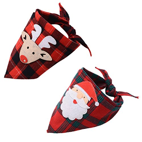 2 PCS Christmas Plaid Dog Bandana with Handmade Applique (Santa Claus & Elk), Washable Triangle Bibs Scarfs for Puppy