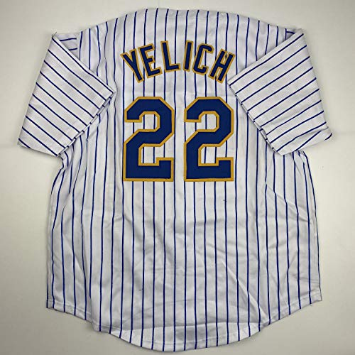 Unsigned Christian Yelich Milwaukee Pinstripe Custom Stitched Baseball Jersey Size Men's XL New No Brands/Logos