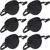 6 Packung Augenklappe Strabismus Verstellbare Augenklappe Augenmaske mit Schnalle für Erwachsene und Kinder, Schwarz