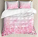 Ambesonne Pale Pink Duvet Cover Set, Japanese Cherry Blossom Sakura Tree with Romantic Influence Nature Theme, Decorative 3 Piece Bedding Set with 2 Pillow Shams, Queen Size, Baby Pink