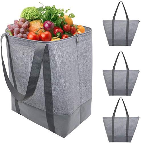 A-Generic Durable Bolsa de Compras Plegable Reutilizable para Exteriores Bolsa de Compras de supermercado Durable Ligero Lavable Ligero 4 Piezas. 65,5 x 59,5 cm Espiga Gris