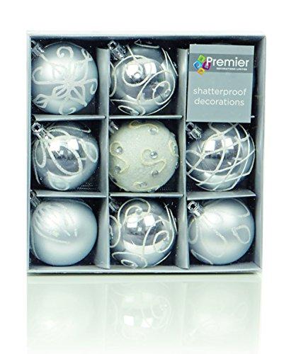 Christmas Direct, set di 9 palline di Natale color argento (6 cm)