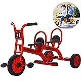 FLy Triciclo Doble Bebe Hecho Material Acero Alto Contenido Carbono, con Diseño Confort Doble Asiento, Empuñaduras Antideslizantes Y Pedales Cómodos para Regalo Cumpleaños Niños De 2 A 8 Años,Rojo