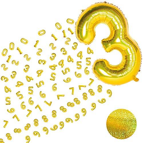 MMTX Globo Número Gigante Dorado Numeros 0 1 2 3 4 5 6 7 8 9, Laser Globo Numérico Brillante, XXL Grande Globos para La Boda Aniversario, Globo de Cumpleaños Fiesta Decoración, Volar con Helio