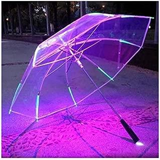 Impercity 8 Rib Light Up Blade Changing Color Led Umbrella with Flashlight Transparent Handle Straight Umbrella Parasol