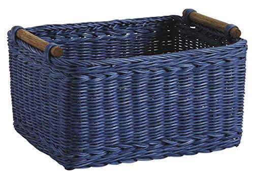 PEGANE Panier de Rangement en rotin teinté Bleu, 28 x 22 x 15-16 cm