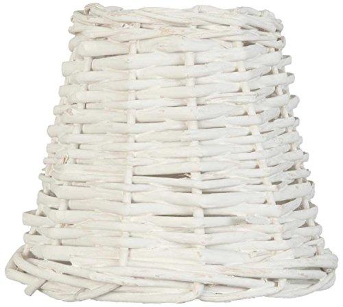 Clayre & Eef 6LAK0256W Lampenschirm Rattan weiß ca. Ø 14 x 12 cm E27