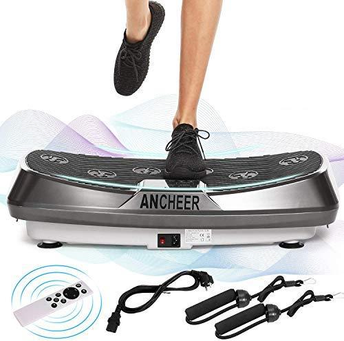 ANCHEER Plataforma Vibratoria Fitness 3D Vibration | Gran Superficie Antideslizante Curvada | 2 Bandas Elásticas de Entrenamiento | Pantalla LCD (Gris)
