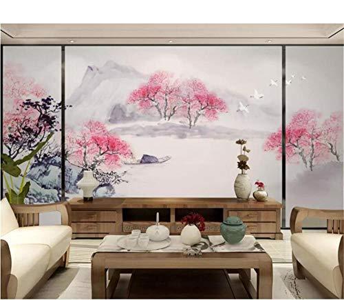 QAQB Wallpaper Mural Peach Blossom Forest Ink Landscape Living Room Mesita de Noche Fondo 3D Wallpaper 3.5m * 2.5m