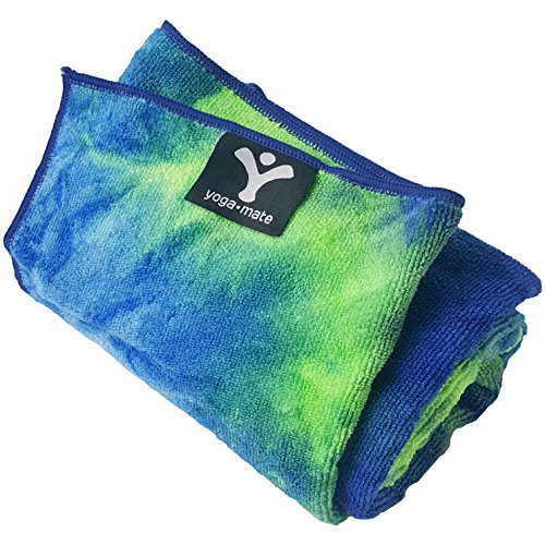 The Perfect Yoga Towel - Super Soft, Sweat Absorbent, Non-Slip Bikram Hot Yoga Towels | Perfect Size for Mat - Ideal for Hot Yoga & Pilates! (Coral Green & Blue Tye Dye)