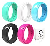 Arua Silicone Wedding Bands for Women. 5 Glossy Silicone Rings. Gift Box Included. Comfortable Rubber Rings for Active Ladies