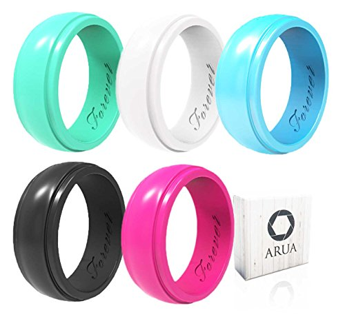 Arua Womens Silicone Wedding Ring. 5 Glossy Wedding Rings. Gift Box Included. Comfortable Rubber Rings for Women