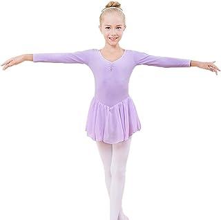 Baywell Mädchen Ballettanzug Lange Ärmel Gymnastik Turnanzug Kinder Tanzkleid Ballettkleidung