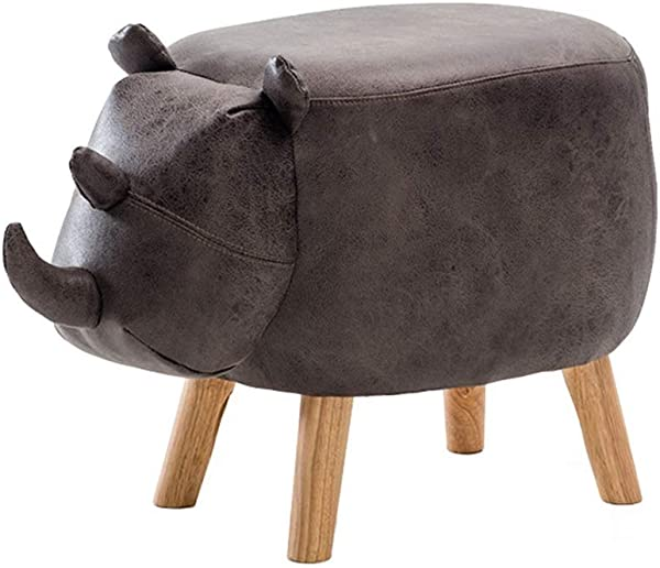 Solid Wood Children S Stool Footstool Sofa Rhinoceros Change Shoes Bench Upholstered Ottoman Pouffe Footrest Gray