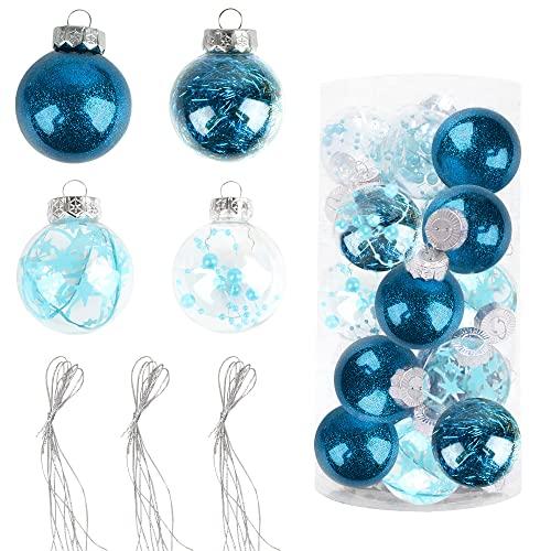 Bolas de Navidad Pintadas 6cm, Speyang Bolas de Árbol de Navidad Adorno, Esfera Transparente Plastico, Decoración de Bolas de Navidad Arbol, para Fiesta Decoraciones Festivales(20 Piezas) (Azul)