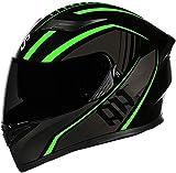 Casco De Moto Con Doble Visera, Certificación ECE Adultos Modular Integral Casco Moto Para Ciclomotor Motocicleta Y Scooter Mujer Hombre Verde Rojo Negro 2, XL=(61~62CM)