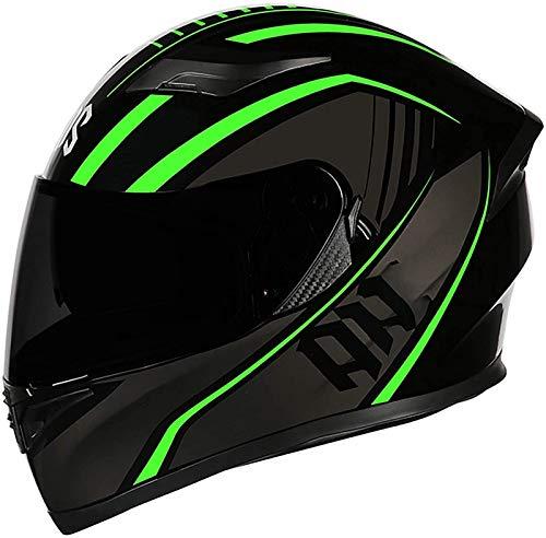 Full Face Motorradhelme Mit Sonnenvisier Adult Klapphelm Motocross Helm Motorrad-Crash-Modular Helmet Leichtbau ECE Certified Integralhelm - Grün Rot Schwarz 2, L=(59~60CM)