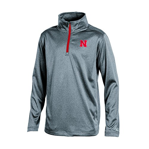 Champion NCAA Nebraska Cornhuskers Boys Long Sleeve Synthetic Quarter Zip Jacket, Gray Heather, Large