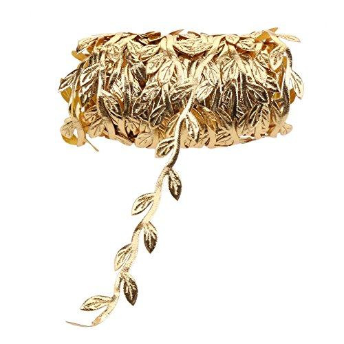 Demiawaking 10m Leaf Vine Garland Satin Ribbon String Trim Artificial Leaves Home Wedding Christmas Decoration (Gold)