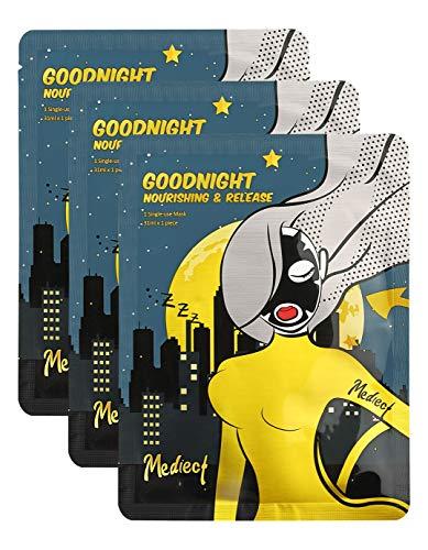 Mediect goodnight nourishing Gesichtsmaske, entspannende Maske zur Gesichtspflege, Night Mask mit Lavendel-und Haferflocken 3 x 31ml