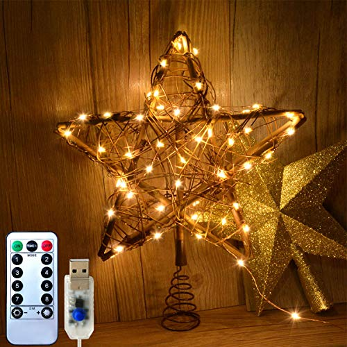 Awinking Rattan Natural Christmas Star Tree Topper, Lighted Up Christmas Tree Topper with 8 Modes 50 LED USB Powered Copper Fairy Lights, Rustic Farmhouse Xmas Tree Topper Star Christmas Decorations