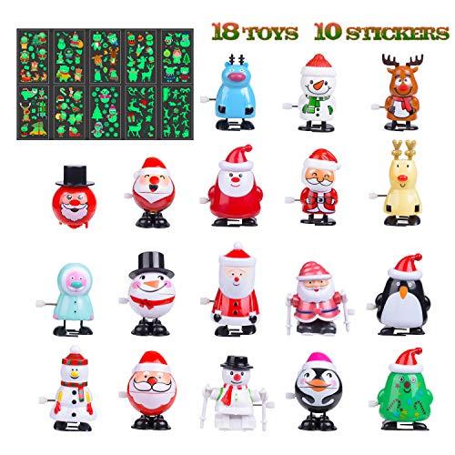 LEEHUR クリスマスおもちゃ ぜんまいおもちゃ18点 蛍光ステッカー10枚 28点豪华セット 電池不用 ぜんまい仕掛け 子供景品 パーティーグッズ 子供会 縁日おもちゃ 新年プレゼント