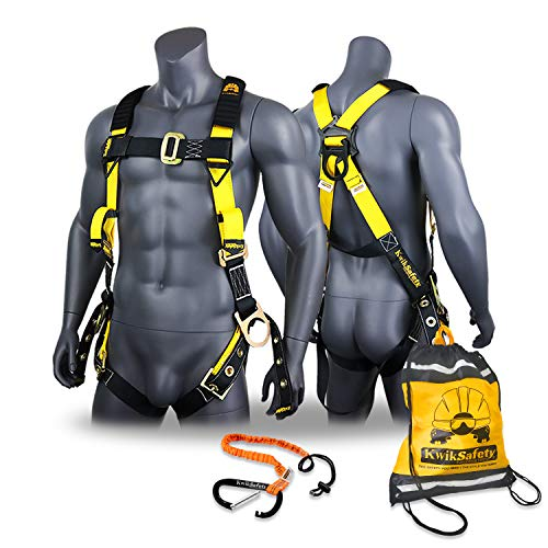 KwikSafety (Charlotte, NC) SUPERCELL Safety Harness | ANSI OSHA Full Body Personal Fall Protection | Dorsal Ring Side D-Rings Grommet Tongue Buckle Straps Tool Lanyard Construction Tower Roofing