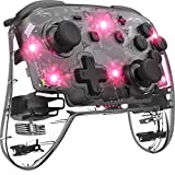Mando Pro para Nintendo Switch Inalámbrico Transparente 8 Colores LED Ajustables, Gamepad remoto con Joystick Vibración Turbo Ajustable, Efecto de Respiración